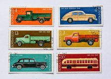 Old soviet postage stamps, cars Royalty Free Stock Image