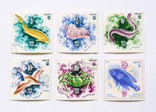 Old soviet postage stamps, fish Stock Image