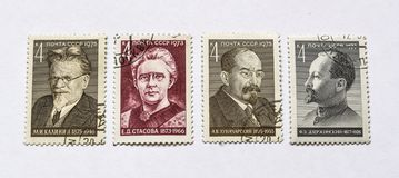 Old soviet postage stamps, people Stock Photos