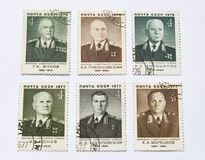 Old soviet postage stamps, soviet military leader Royalty Free Stock Images
