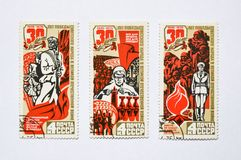 Old soviet postage stamps, soviet period Stock Photo