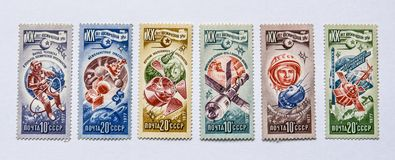 Old soviet postage stamps, space Stock Images