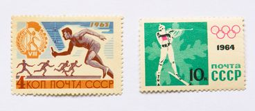 Old soviet postage stamps, sports Royalty Free Stock Photo