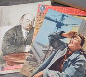 Old soviet  press. Soviet journals - press Stock Photos