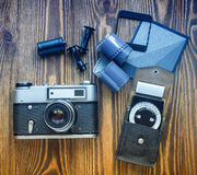 Old soviet rangefinder camera,exposure meter and another trappings of film photography. Royalty Free Stock Image