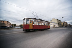 Old Soviet red tram. On the streets Stock Photos