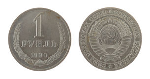 Old Soviet Ruble Coin Isolated on White Royalty Free Stock Image