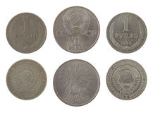 Old Soviet Ruble Coins Isolated on White Stock Photography