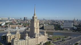 Aerial view of hotel Ukraine in Moscow. Old Soviet Russia Stalin high-rise skyscrapers in heart of modern Moscow City stock video