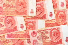 Old soviet russian money background Stock Photo