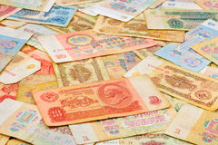 Old soviet russian money background Royalty Free Stock Images