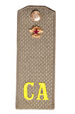 Old Soviet shoulder strap of the private soldier. Old Soviet shoulder strap of the private soldier on a white background Stock Photography
