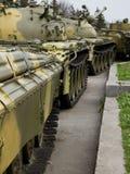 Old soviet tank. In  column Stock Photography
