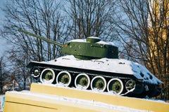 Old soviet tank like monument in Gomel, Belarus Royalty Free Stock Photos