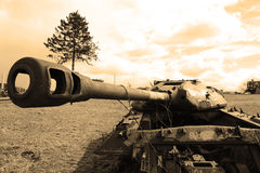 The old soviet tank. Sepia. Royalty Free Stock Images