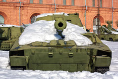 Old soviet tank in the snow Stock Photography
