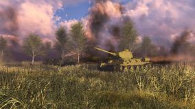Old soviet tank T-34 at WWII battlefield. Soviet tank T-34 at WWII battlefield with explosions and smoke on a background. Historical reconstruction of Second Stock Photo