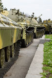Old soviet tanks. In column Royalty Free Stock Images
