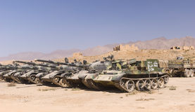 Old soviet tanks in Pol e Charki, Afghanistan. This image shows several old soviet tanks in a storage depot on the outskirts of Kabul Afghanistan.  The area is Stock Image