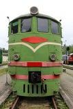 Old soviet train antic. Old antic train wheelson rails Stock Photo