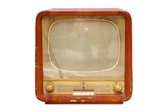 Old soviet tv set. Isolated over white Stock Images