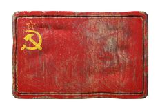 Old Soviet Union flag. 3d rendering of an old Soviet Union flag over a rusty metallic plate  on white background Stock Photography