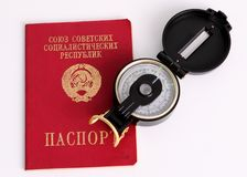 Old Soviet Union Passport with Compass Royalty Free Stock Photos