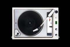 The old Soviet vinyl player. Isolated on black background. turntable Stock Image
