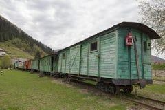 Old Soviet wooden wagon narrow-gauge railway Royalty Free Stock Photos