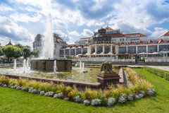 Old spa house Sopot. The old spa house and fountain at Kuracyjny Square, Sopot, Poland Royalty Free Stock Photo