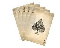 Old spade flush. Illustration of old poker cards, spade flush stock illustration