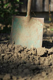 Old spade in the soil two Royalty Free Stock Image