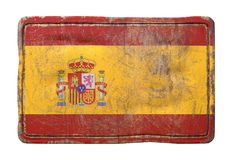 Old Spain flag. 3d rendering of a Spain flag over a rusty metallic plate. Isolated on white background stock photos