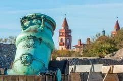Old Spanish bronze alloy mortar royalty free stock photo
