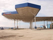 Old spanish campsa petrol station. Ancient petrol station from spanish campsa enterprise Stock Image