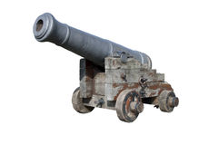Old Spanish cannon isolated on white Royalty Free Stock Photo