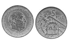 Old Spanish coin of 5 pesetas.1957 Royalty Free Stock Photos