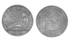 Old Spanish Coin on a white background 1869 year Royalty Free Stock Photo