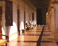 Old Spanish Mission Porch. The front porch of an old Spanish mission in the southwestern U.S Royalty Free Stock Images