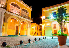Old spanish palaces in Havana illuminated at night Royalty Free Stock Image