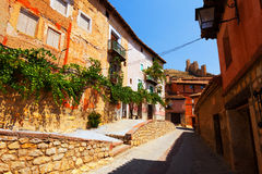 Old spanish town. Albarracin. Sunny street of old spanish town. Albarracin Royalty Free Stock Photo