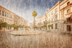 In old Spanish town in grunge Stock Image