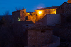 Old spanish town in night.  Utrillas Royalty Free Stock Photography