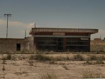 Old spanish truck petrol station. Royalty Free Stock Photography