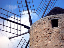 Old spanish windmill. On the coast of Formentera in Spain Stock Photos