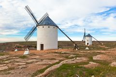 Old Spanish windmills Stock Photos