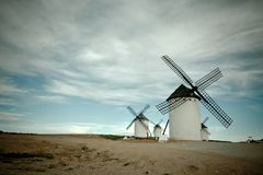 Old Spanish windmills, toned image Stock Photography