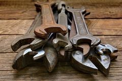 Old spanners collection Stock Images
