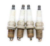 Old spark plugs, top view Royalty Free Stock Image