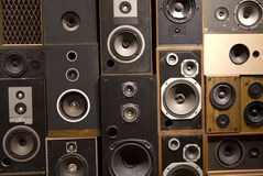Old speakers. Different sizes of old speakers recycled as artwork in a museum Royalty Free Stock Photos